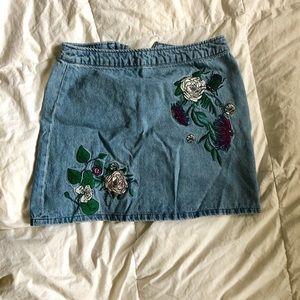 Embroidered Jean Mini Skirt